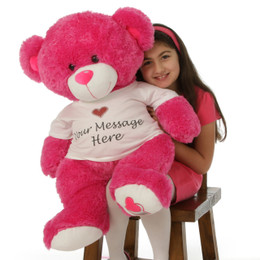 Huge 36in Personalized Hot Pink Teddy Bear Cha Cha Big Love in cute Sweet Heart Shirt