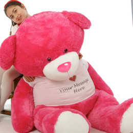 Giant  Personalized Hot Pink Life Size Teddy Bear Cha Cha Big Love 60in