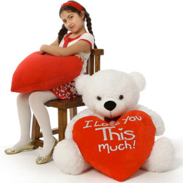Big White Valentine's Day Teddy Bear Coco Cuddles I Loves You THIS Much 3ft