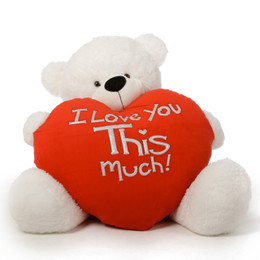 Huge White Valentine's Day Teddy Bear Coco Cuddles Loves You THIS Much 4ft