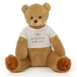 Huge 3½ ft Personalized Prom Teddy Bear Amber Brown Honey Tubs  A Honey Bear for YOUR Honey!