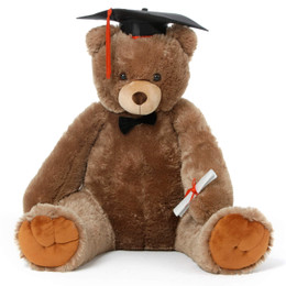 Sweetie Tubs Mocha Brown Graduation Teddy Bear in Grad Cap with Bowtie and Diploma