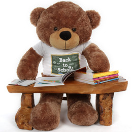 4 ft Huge Teddy Bear Back to School Mocha Sunny Cuddles