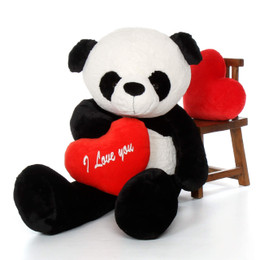 "60in Life-Size Panda Bear Precious Xiong w/red ""I Love You"" heart"