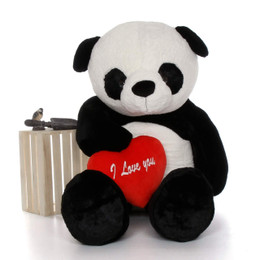 "72in Life Size Panda Bear Rocky Xiong w/red ""I Love You"" heart"