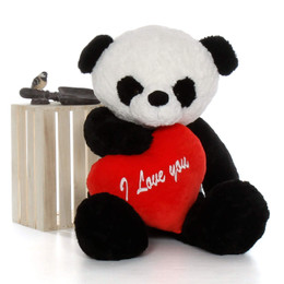 "48in Big Panda Bear Ricky Xiong with red ""I Love You"" heart"