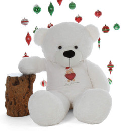 60in Merry Christmas personalized  Life Size Extra soft White Teddy Bear Coco Cuddles gift