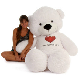 6ft life size Personalized Teddy Bear White Coco Cuddles Red Heart Shirt
