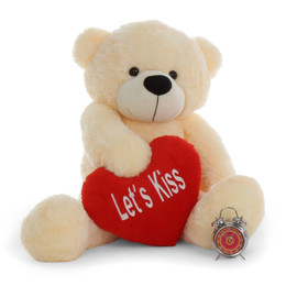 4ft Life Size Teddy Bear for Valentine's Day Cream Cozy Cuddles with Let's Kiss heart