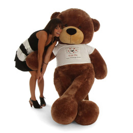 6ft Huge Personalized Valentine's Day Teddy Bear Mocha Sunny Cuddles in Kiss Me shirt