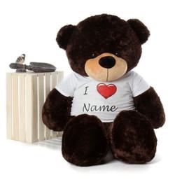 Life Size 5ft Personalized Valentine's Day Teddy Bear Brownie Cuddles dark brown fur