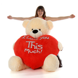 5ft life size huge teddy bear Cozy Cuddles cream fur with jumbo red heart pillow