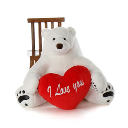 35in Huge Soft Huggable Polar Bear Marshmallow Frost with red heart pillow