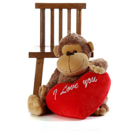 34in Life Size Silly Sammy Monkey  with red 'I love you' plush heart pillow