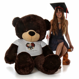 5ft White Coco Cuddles Personalized Teddy Bear for Valentine's Day in 'Kiss Me' shirt with your mess
