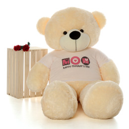 Life Size 5ft Happy Mother's Day teddy bear vanilla cream Cozy Cuddles