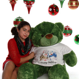 4ft Green Lucky Cuddles Happy Holidays Teddy Bear