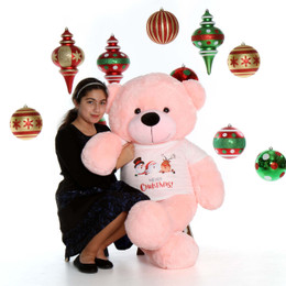 4ft Life Size Pink Merry Christmas Teddy Bear Lady Cuddles