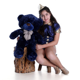 30in Royce Cuddles Navy Blue Oversized Teddy Bear