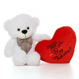 "2.5ft Big White Valentine's Day Bear Coco Cuddles with Plush Red ""Will You Be My Valentine?"" Heart"