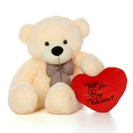 "4ft Life Size Vanilla Cream Valentine's Day Bear Cozy Cuddles with Plush Red ""Will You Be My Valentine?"" Heart"