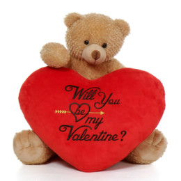 "2ft Adorable Big Amber Brown Valentine's Day Teddy Bear Honey Tubs with Plush Red ""Will You Be My Valentine?"" Heart"