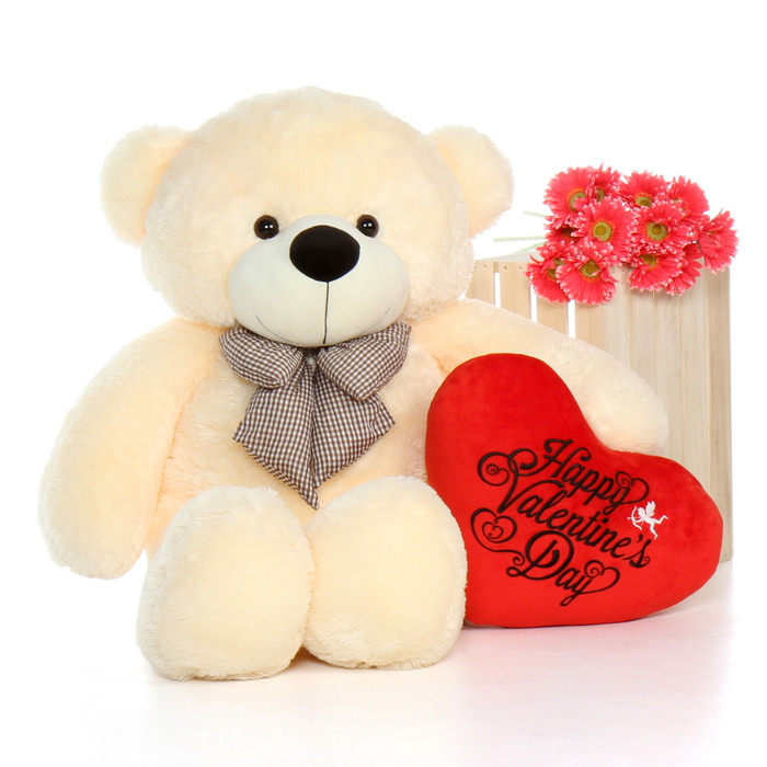... 48u0027u0027 Vanilla Cozy Cuddles W Happy Valentineu0027s Day Plush Heart; Giant  Teddy Tag 2017. (No Reviews Yet)