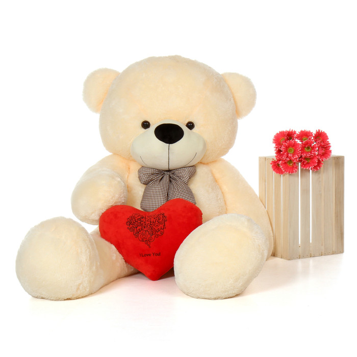 ... 6f Vanilla Cozy Cuddles Giant Teddy Bear W Happy Valentineu0027s Day ILY  Red ...