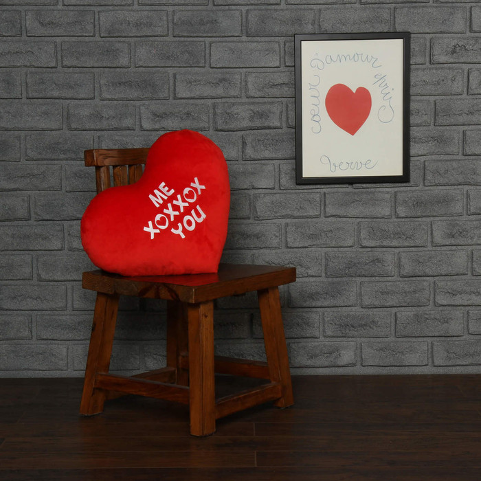 """Personalized Red Pillow Heart with """"Me XOXXOX You"""" Message"""