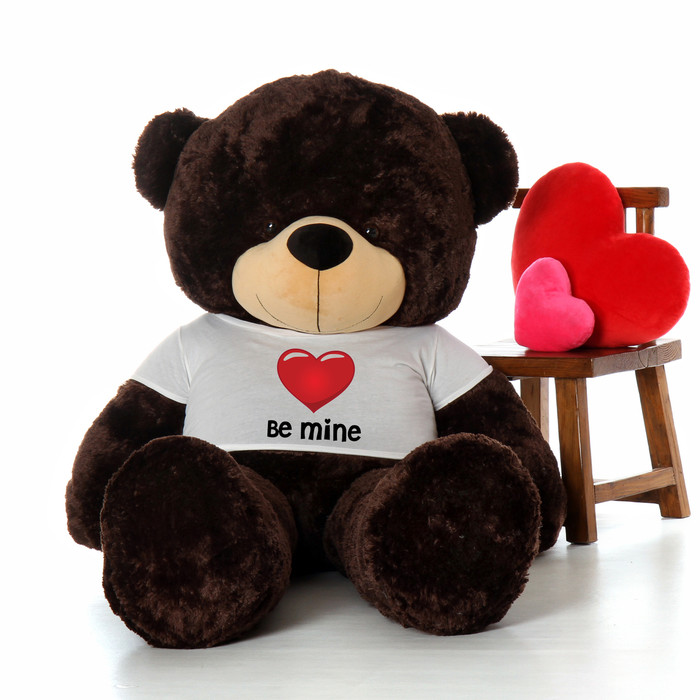 6ft chocolate brownie cuddles by giant teddy in be mine valentines day t