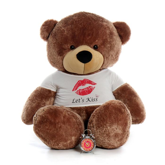 72in sunny cuddles mocha brown giant teddy bear wearing a lets kiss t