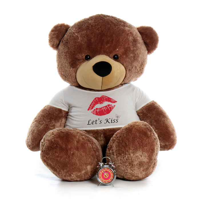 ... 72in Sunny Cuddles Mocha Brown Giant Teddy Bear Wearing A Letu0027s Kiss T   ...
