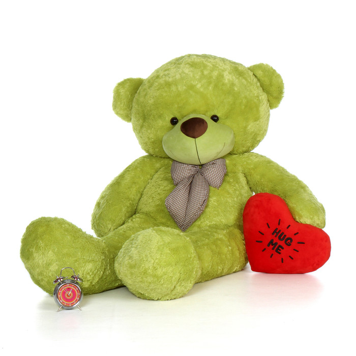 72in Giant Teddy Bear Lime Green fur with a Hug Me Heart pillow for Valentine's Day