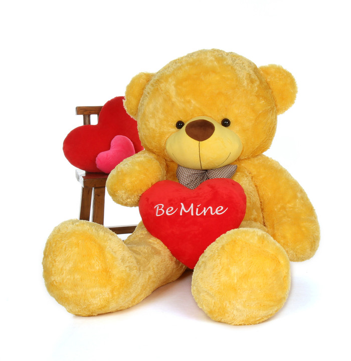 6ft Giant Teddy Daisy Cuddles Yellow fur with a cute Be Mine heart pillow