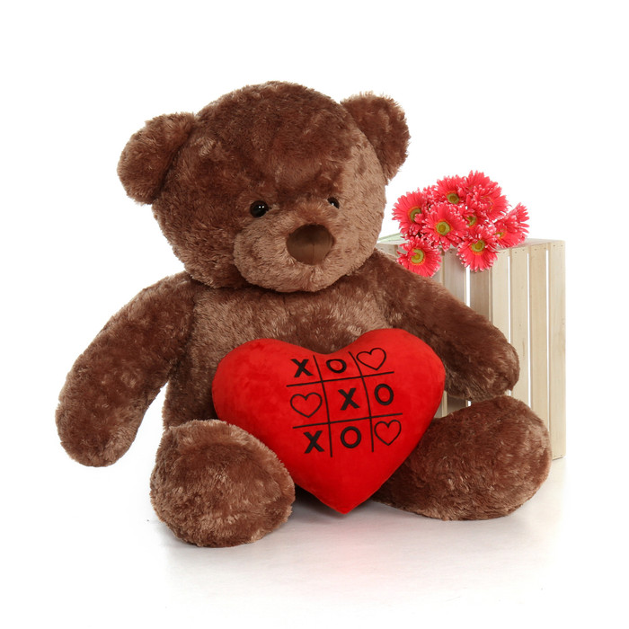 4ft Big Chubs Mocha Brown Teddy Bear with XOXO plush heart