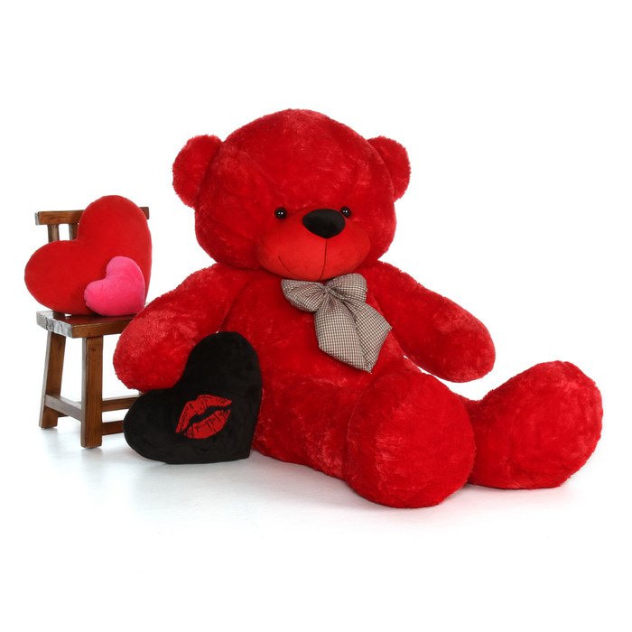 ... 6ft Red Teddy Bear Bitsy Cuddles With Black Kiss Heart Pillow; Giant ...