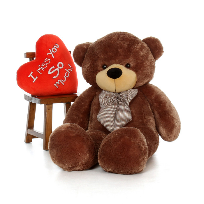 ... Plush Heart; 5ft Sunny Cuddles Mocha Brown Teddy Bear With I Miss You  So Much Heart Pillow; Giant ...