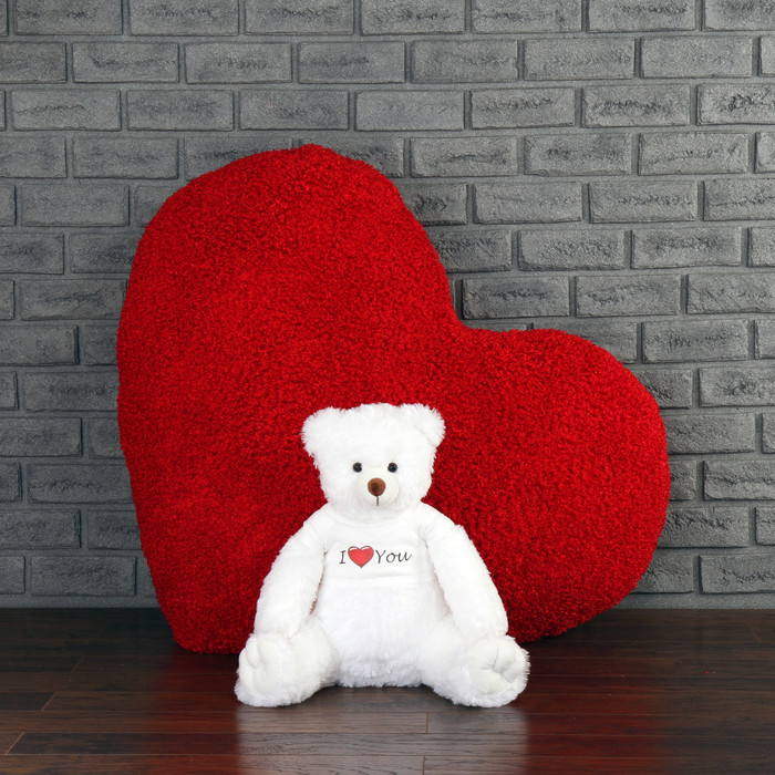 44in Massive Heart Body Pillow with 24in White Teddy Bear