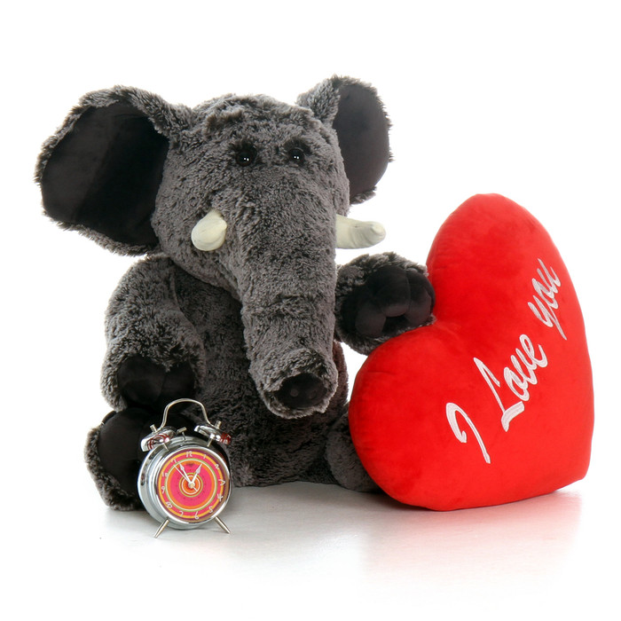 "30in Lucy Elephant with XL Red ""I Love You"" Heart Pillow"