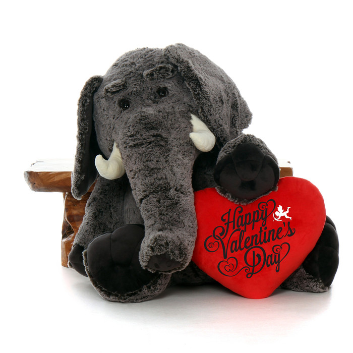 "48in Stampy Elephant with XL Red ""Happy Valentine's Day"" Heart Pillow"