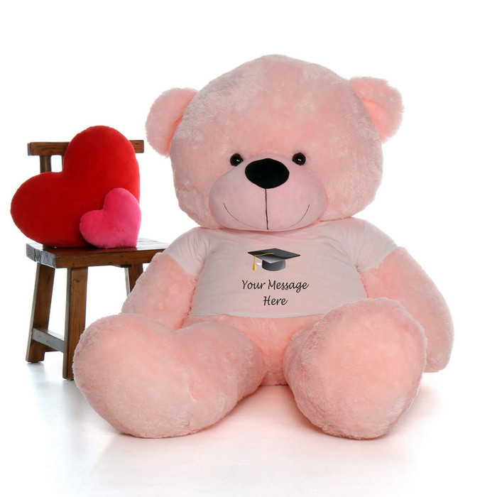 72in Pink Cuddles Personalized Graduation Teddy Bear