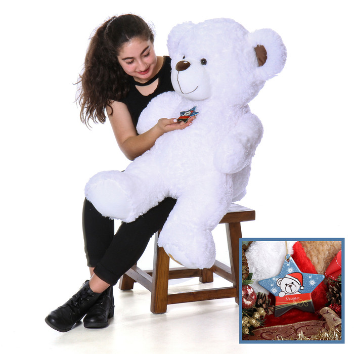 4 Foot Huge White Big Love Teddy Bear with Personalized Christmas Ornament