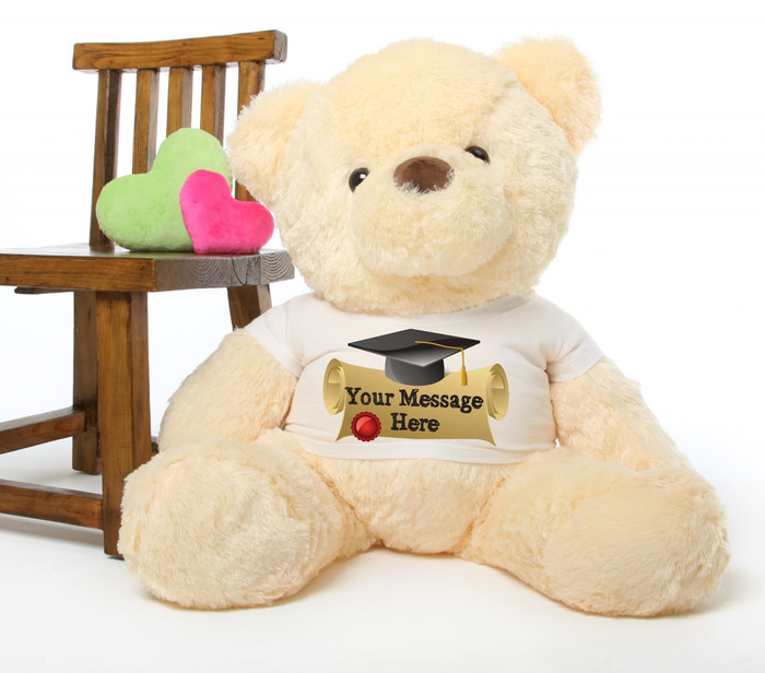 Smiley Chubs cream personalized graduation teddy bear 38in