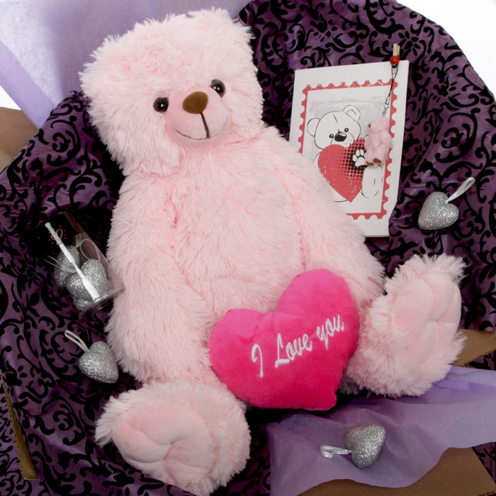 Gimme Some Lovin Bear Hug Care Package Darling Heart Tubs pink teddy bear 18in Miniature teddy bear pictured is no longer included in this package.