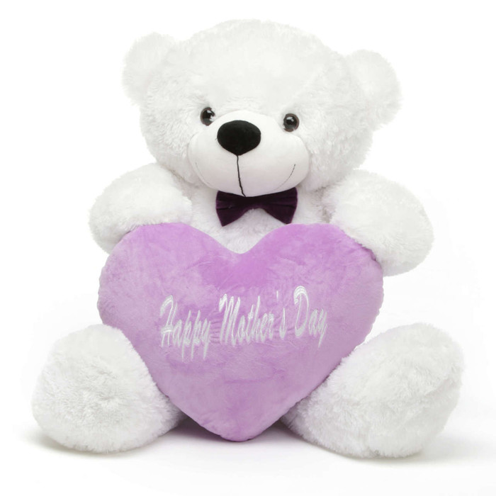 coco m cuddles 38quot white teddy bear w happy mothers day