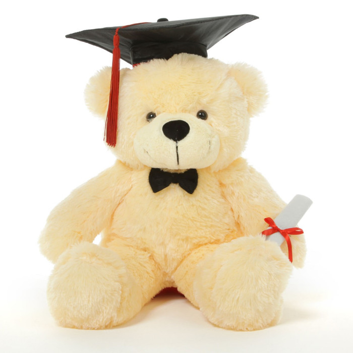 Cozy G Cuddles Vanilla Graduation Teddy Bear with Cap and Diploma 24in