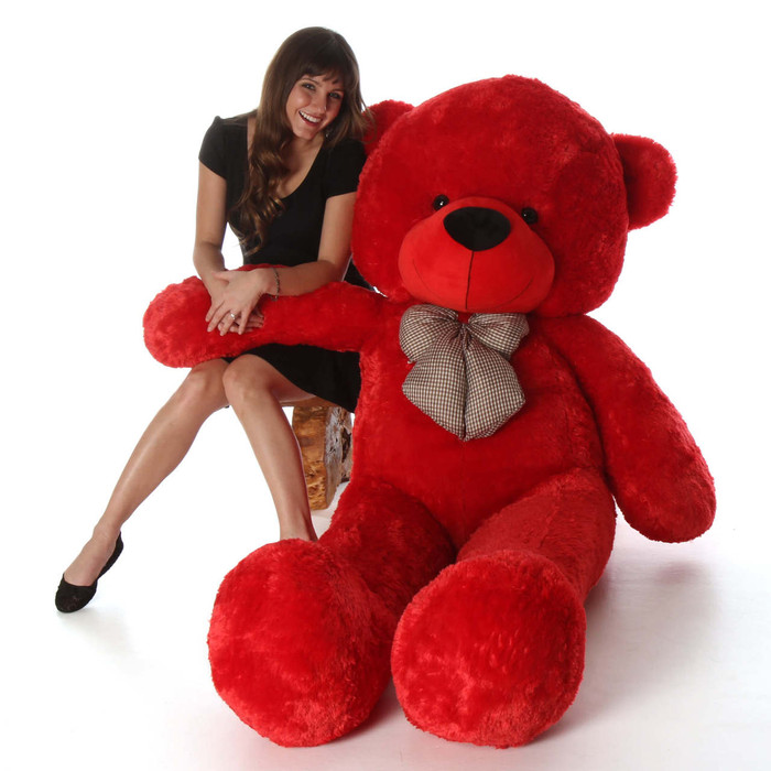 6ft Life Size Teddy Bear Bitsy Cuddles Hard to Find True Red Color