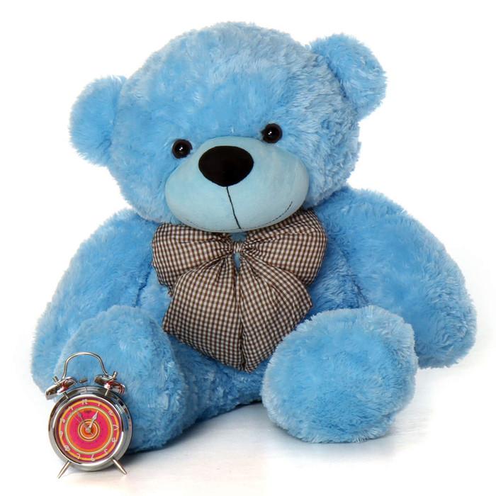 Happy cuddles 38 sky blue stuffed teddy bear giant teddy bears 38in huge light blue teddy bear soft and snuggly happy cuddles altavistaventures Images