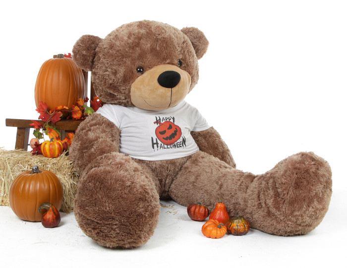60 inch Giant Teddy Halloween Bear Sunny Cuddles makes an impressive gift in his Happy Halloween t-shirt!