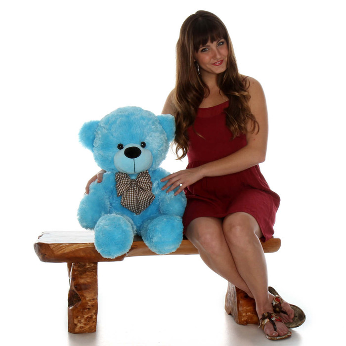 Happy Cuddles Huggable and Cuddly Sky Blue Teddy Bear 30in